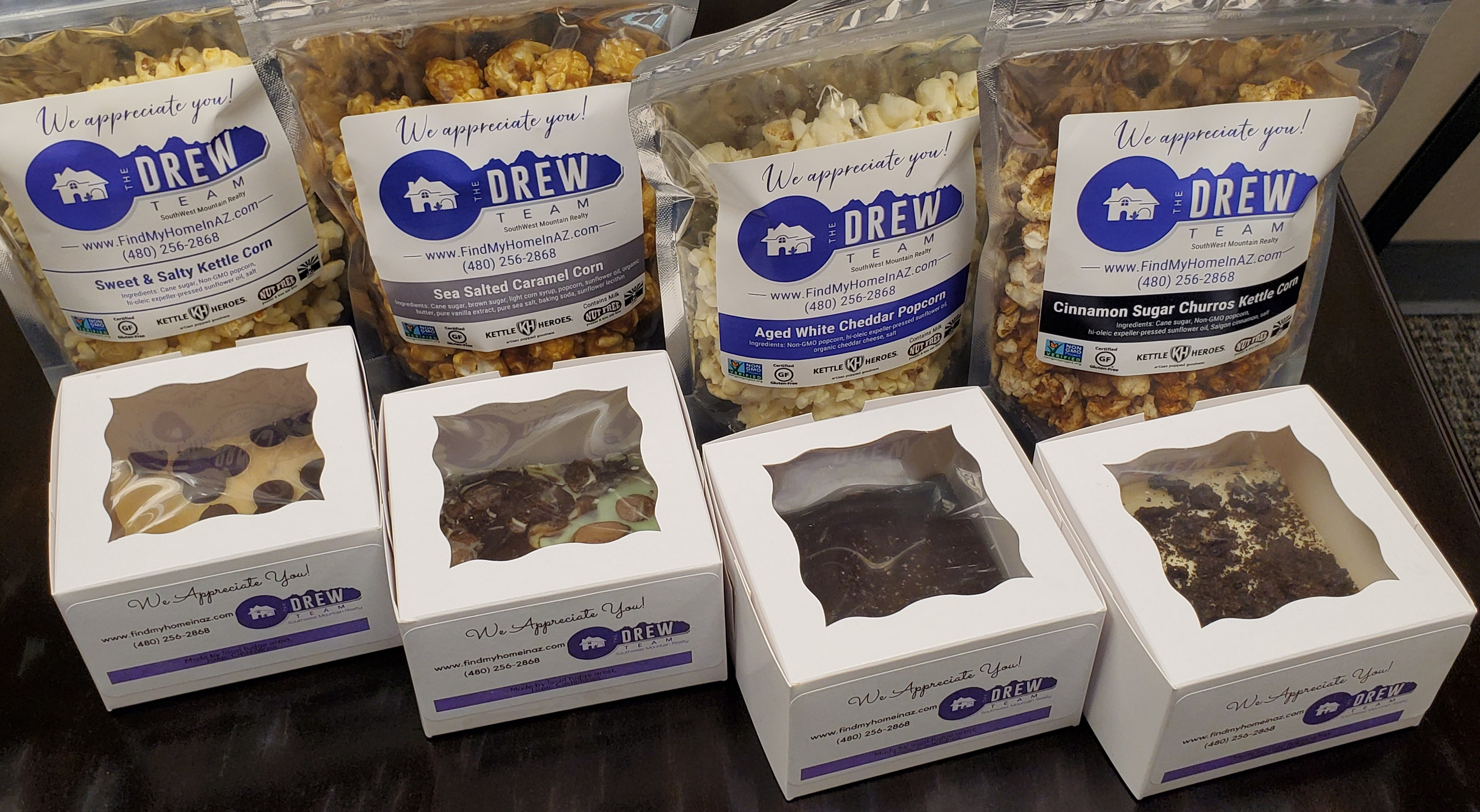Past client giveaway fudge and popcorn The Drew Team