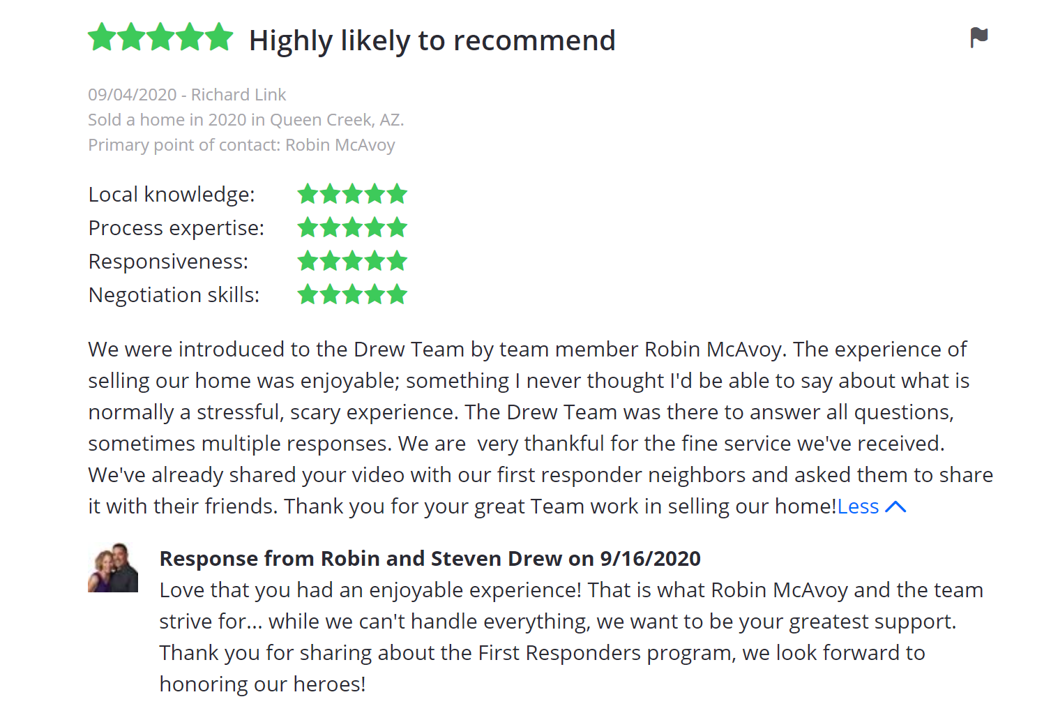 Robin McAvoy The Drew Team Review Agents Queen Creek San Tan Valley