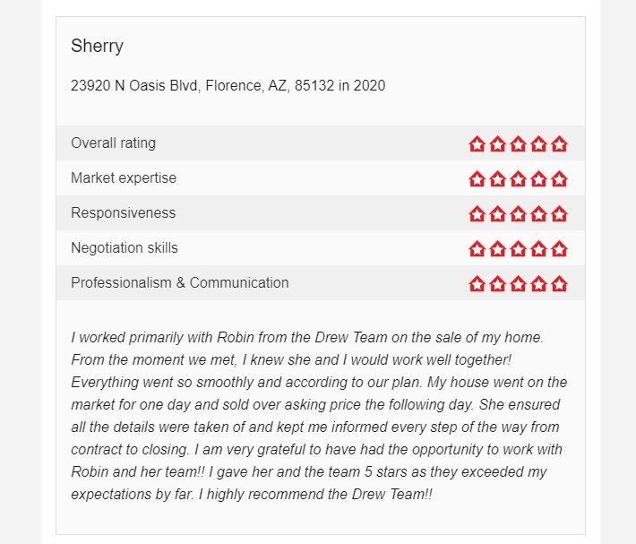 Client Review of Sold home with Drew Team