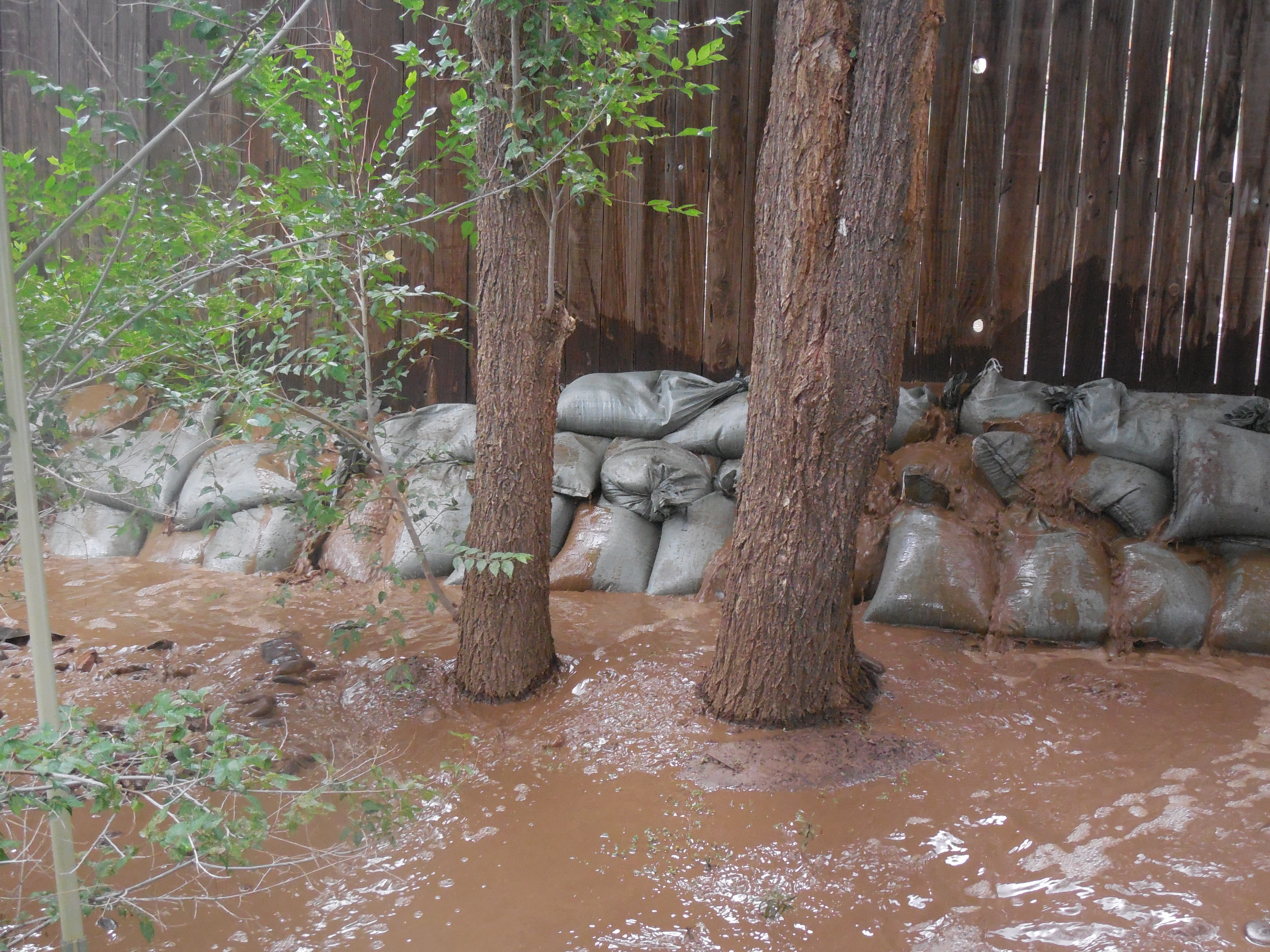 Wrong way to sandbag, water gets through!