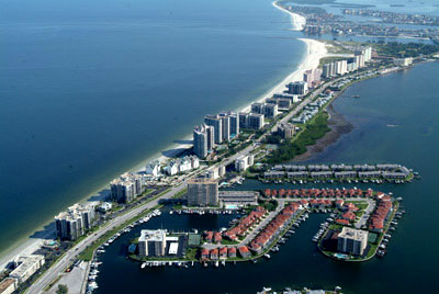 Aerial view of Sand Key, Clearwater Beach