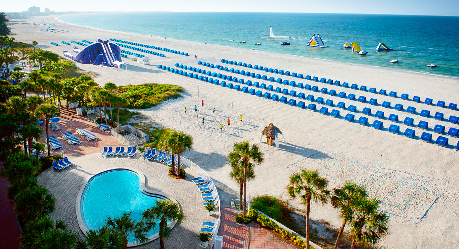image of the cabanas on the sand at Clearwater Beach Florida