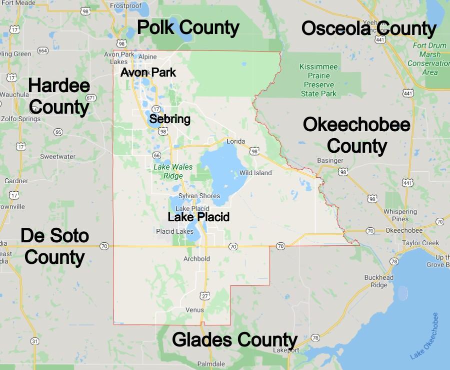 Highlands County Florida Community Map
