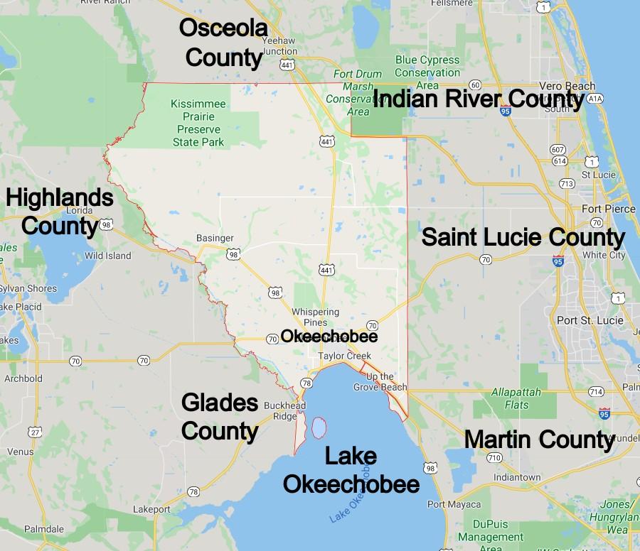 Okeechobee County Florida Community Map