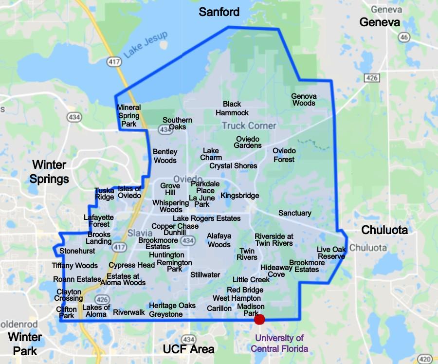 Oviedo Florida Neighborhood Map