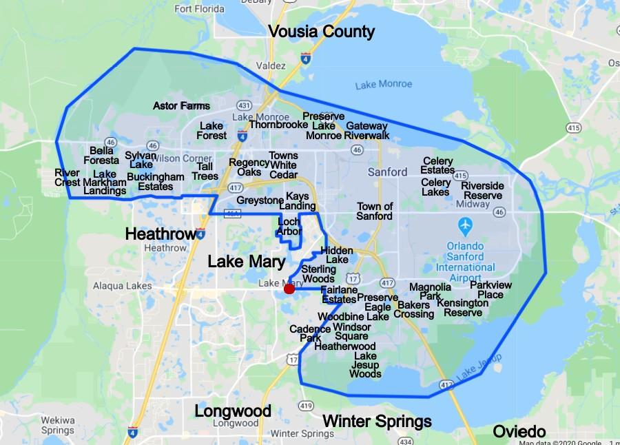 Sanford Florida Neighborhood Map