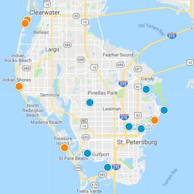 St. Petersburg Clearwater Map