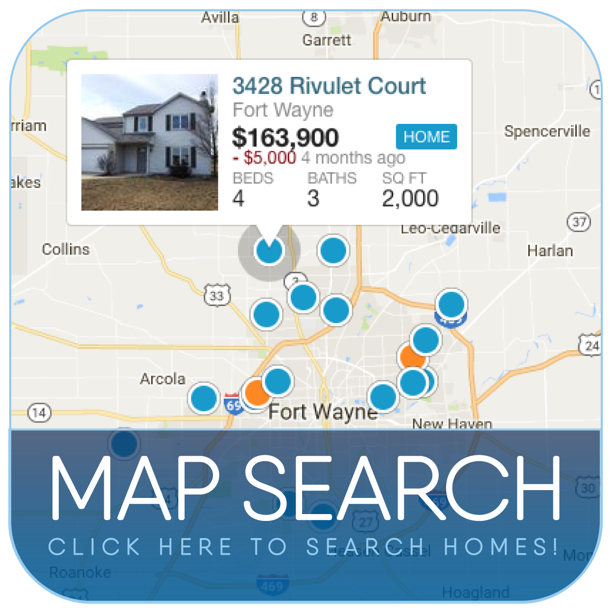 Search Fort Wayne, Indiana Homes by Map