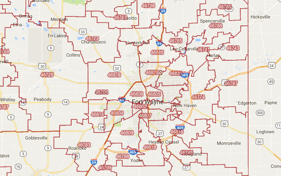 Fort Wayne In Zip Code Map | Zip Code MAP