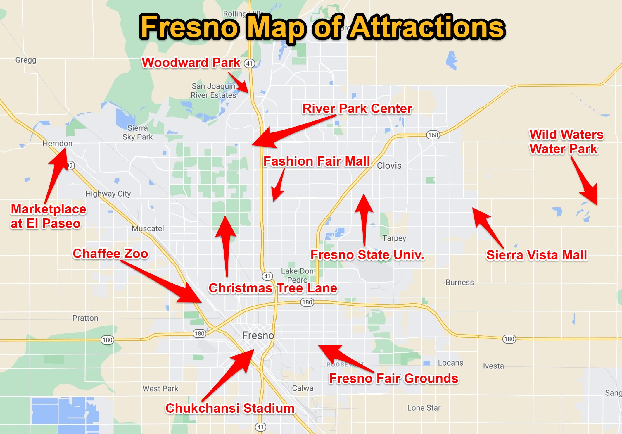 Map of attractions in Fresno