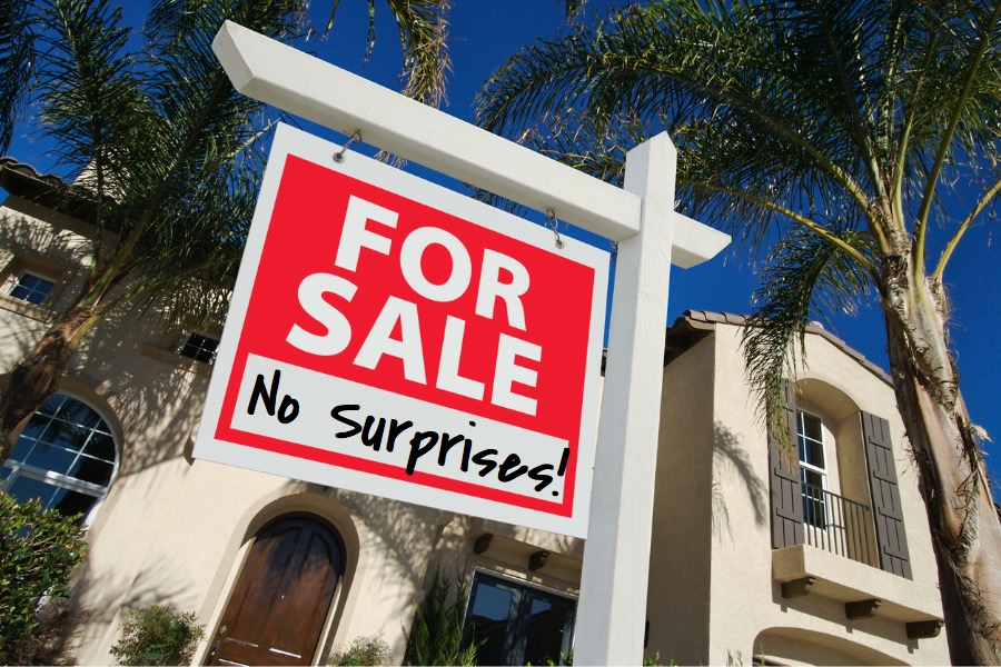 Inspect before selling for sale sign real estate