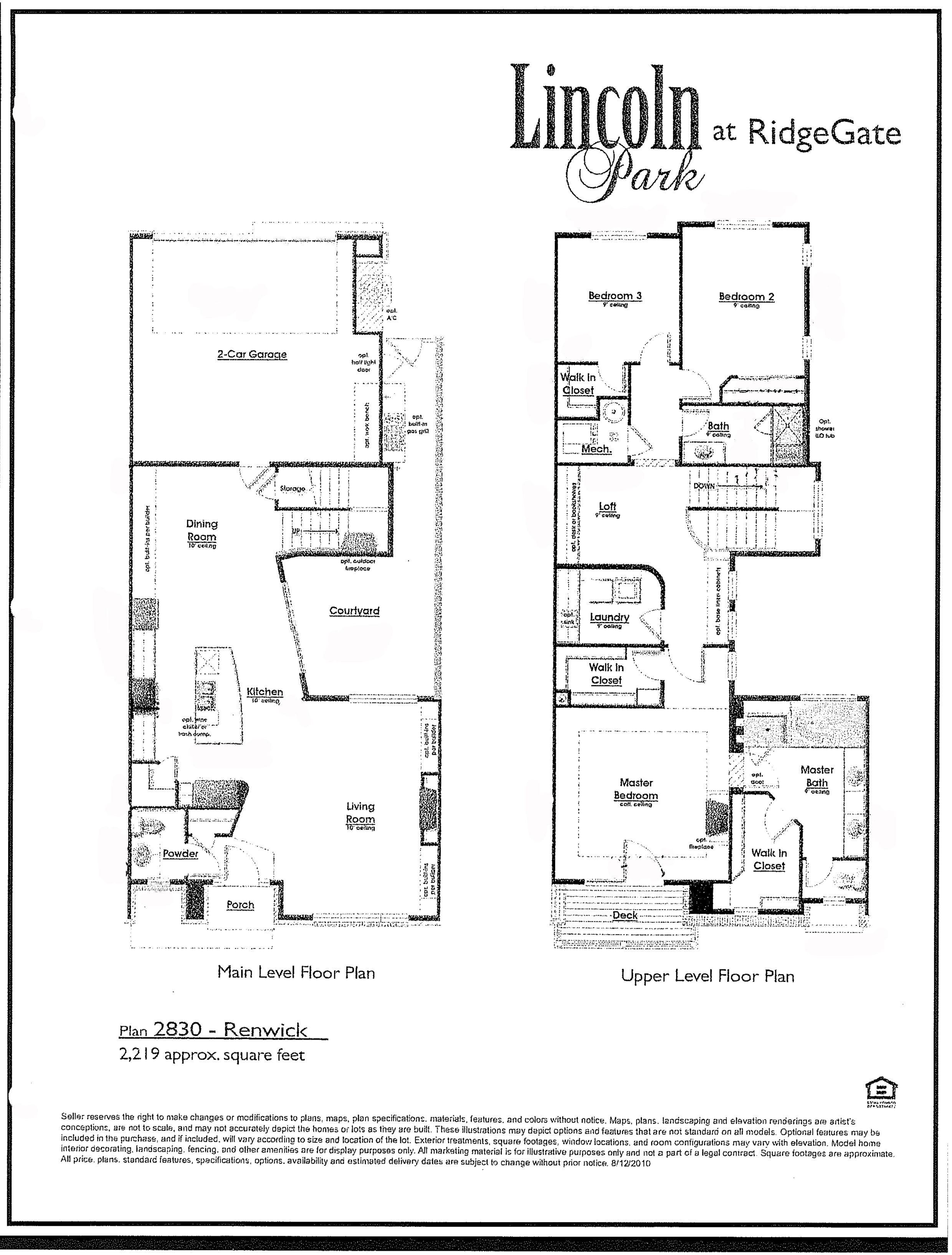 Plan 2830 Renwick at Lincoln Park in RidgeGate of Lone Tree CO