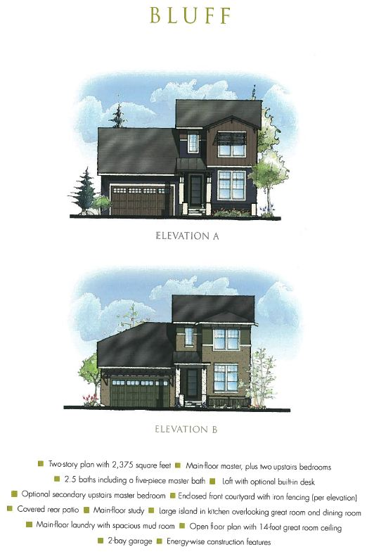 Bluff Model Elevations ParkSide at RidgeGate in Lone Tree CO