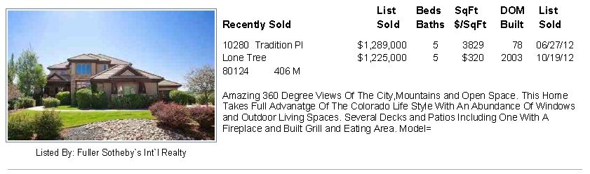 Lone Tree Heritage Estates Sold Home
