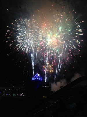 Fireworks Show after Colorado Rockies game at Coors Field, Denver, Colorado