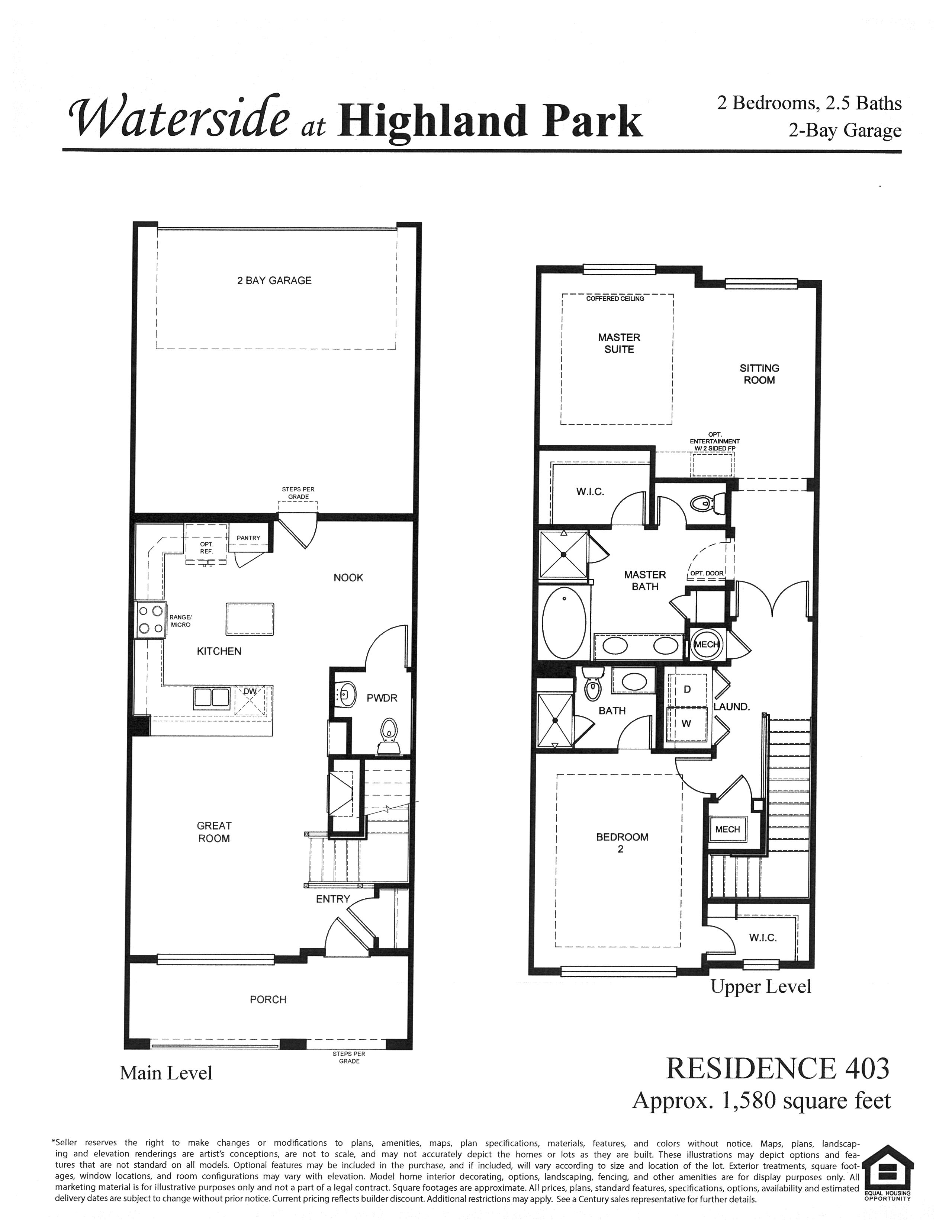 Waterside at Highland Park Floor Plan Residence 403 in Centennial, CO