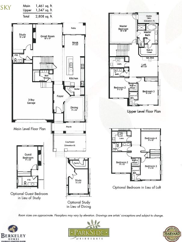 Sky Model and Floor Plan ParkSide at RidgeGate in Lone Tree CO