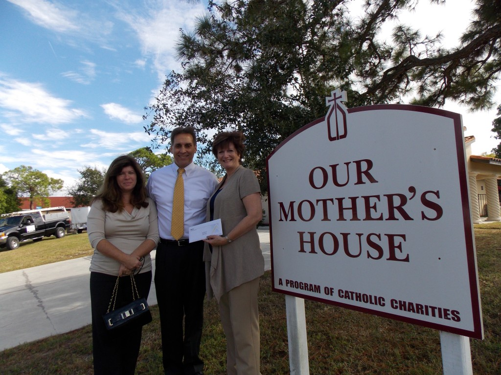 Troy & Joyce Sacco Donation to Venice non profit, Our Mother's House