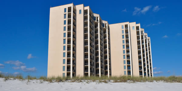 Navarre Towers on the beach