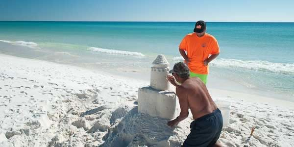 Sand castles on thje beach in Destin, FL