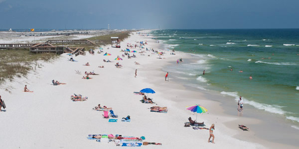 People on beach in Navarre