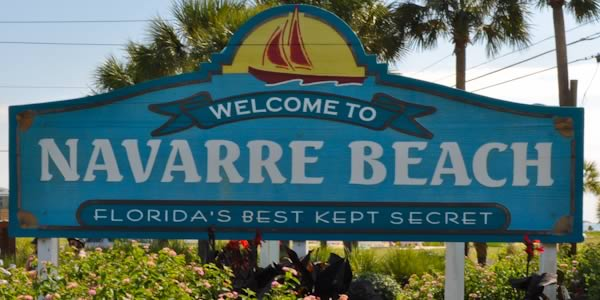 Welcome to Navarre Beach sign