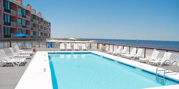 The pool at Palm Beach Club Condominiums