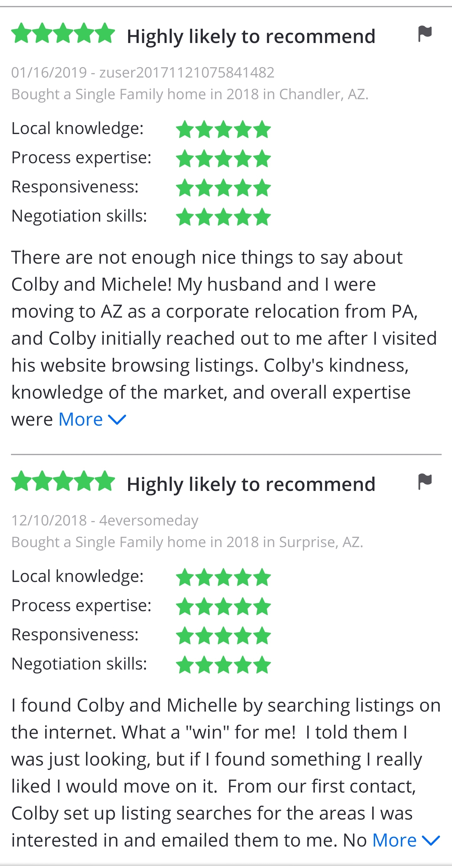 Colby & Michele Client Reviews