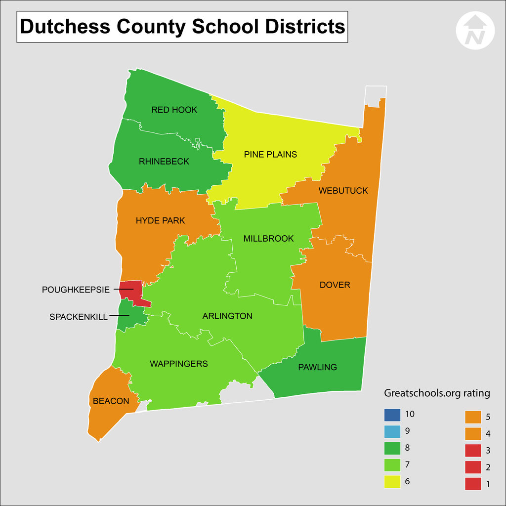 Dutchess County School District Map with School Ratings