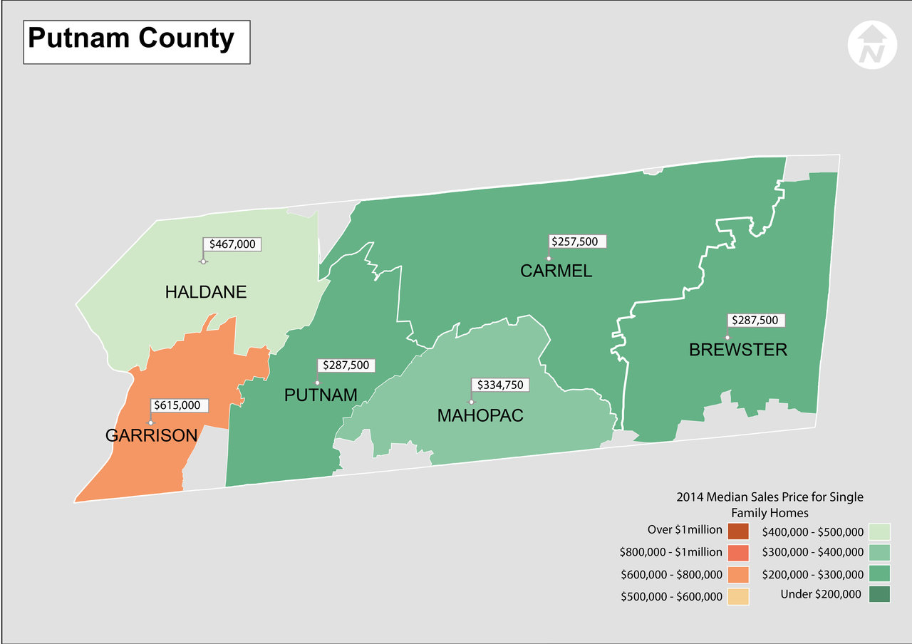 Map Of 287 New York.2014 Hudson Valley New York Real Estate Median Sales Price