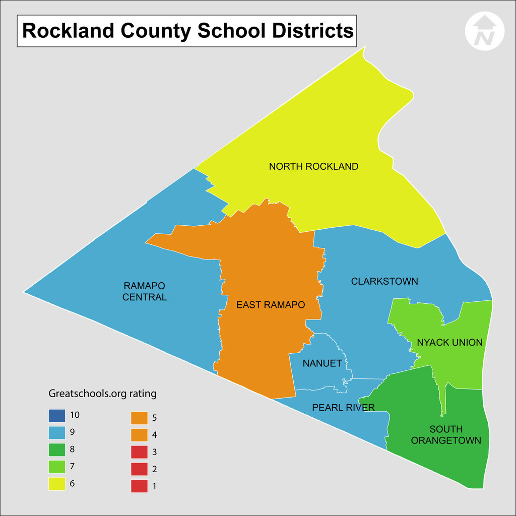 Map of Rockland County NY School districts