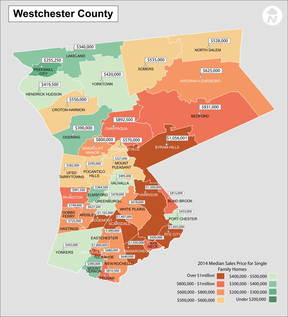 Map of Westchester New York School District Real Estate