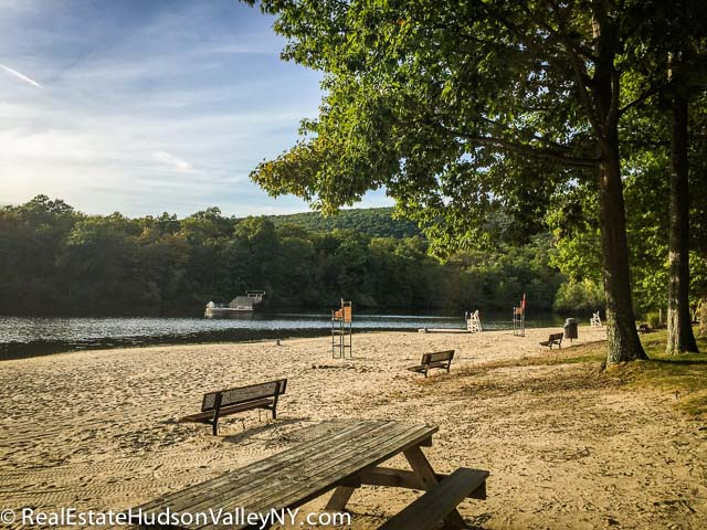 The beach at Earl Reservoir Park in Woodbury