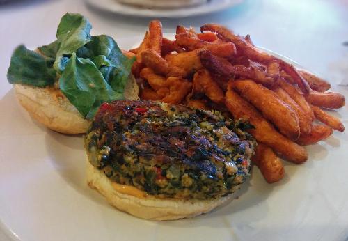 Veggie burger from Zoila's in Circleville NY