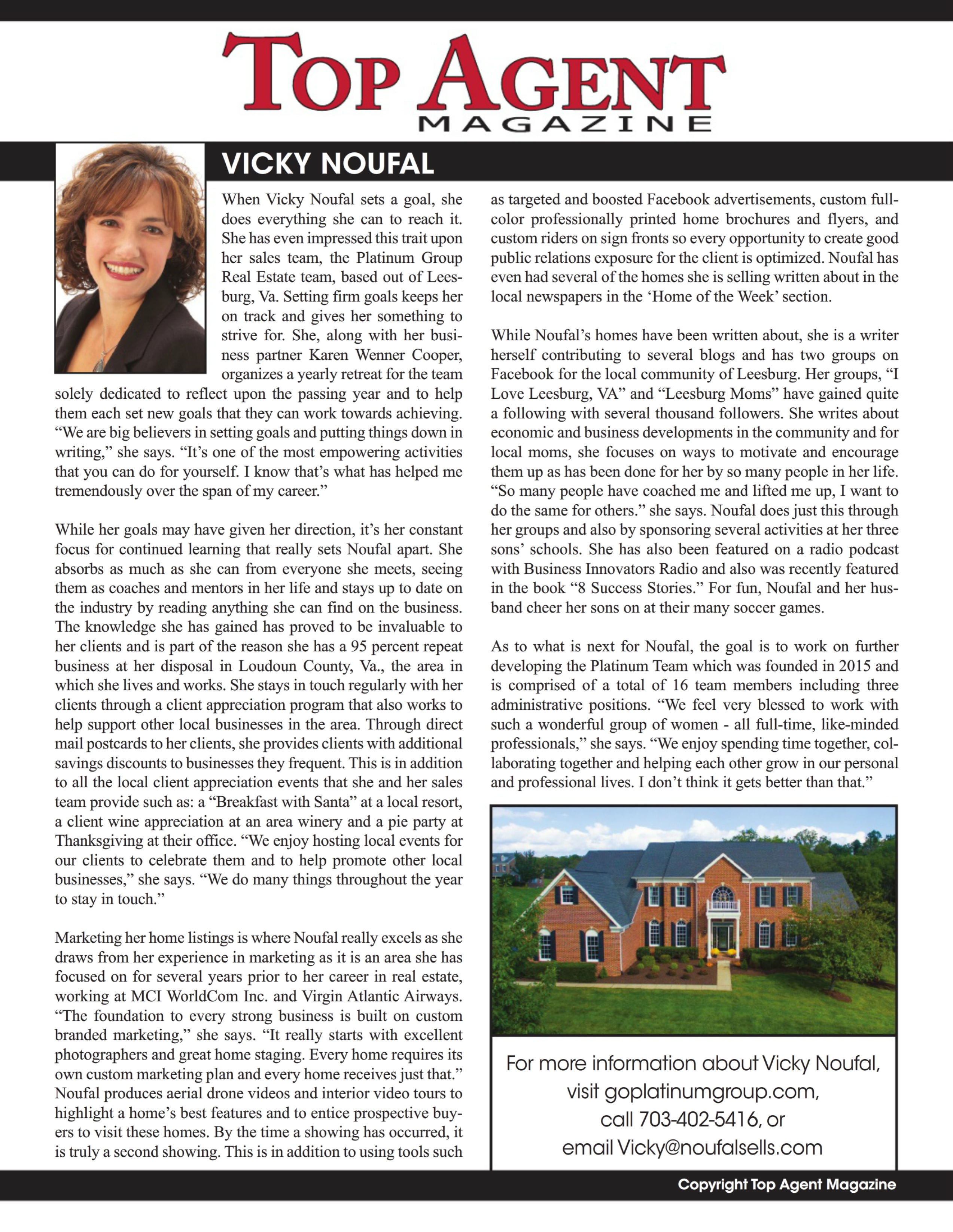 Top Agent Magazine - Vicky Noufal