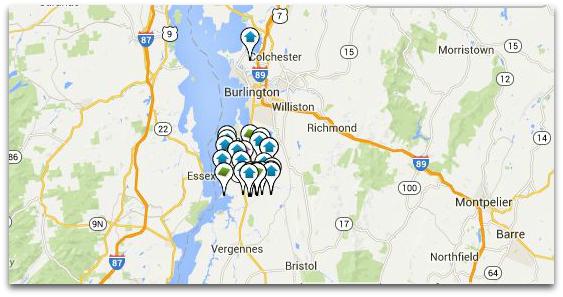 Charlotte VT Real Estate Map