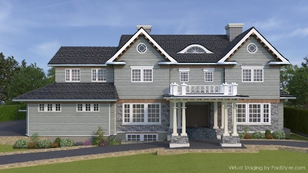 Front view of home under construction at 368 Hartshorn Drive in Short Hills NJ 07078