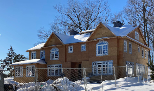 February 2021 photo of new luxury home under construction at 368 Hartshorn Drive in Short Hills, New Jersey