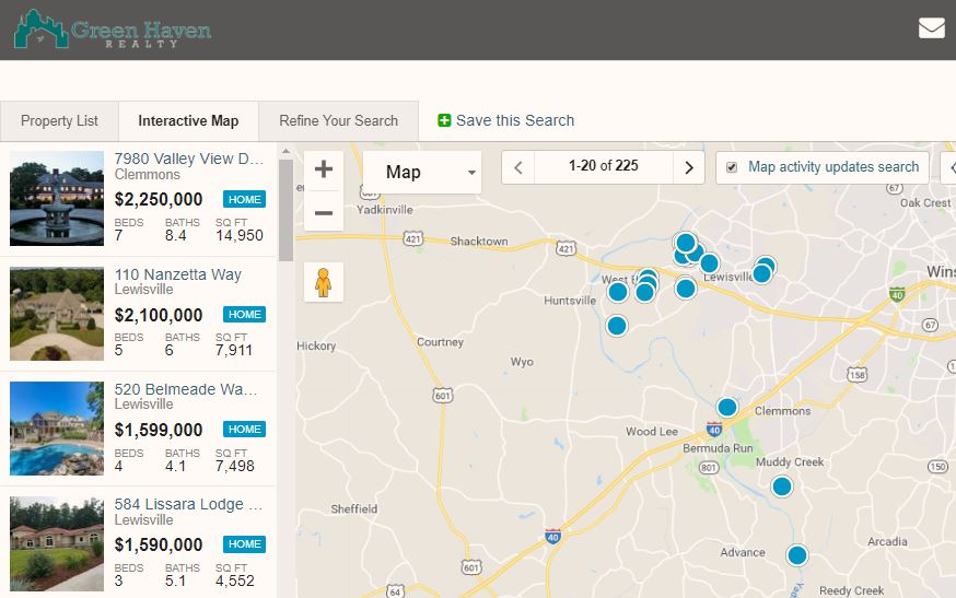 Search Winston-Salem Area Homes for Sale Interactive Map