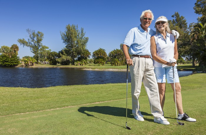 Retiree Couple on Lewisville Clemmons NC Golf Course