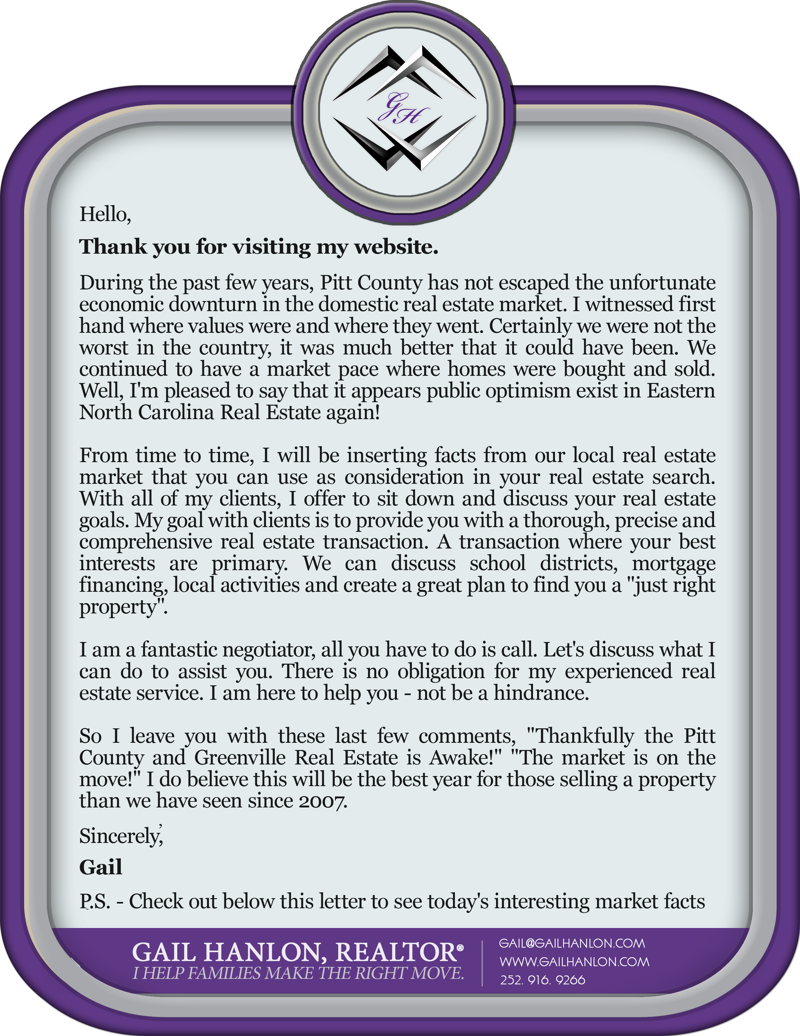A letter from gail hanlon a Realtor in Greenville nc discussing the real estate market.