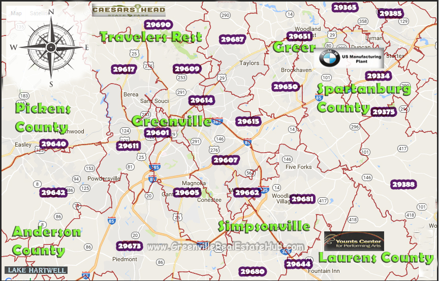Greenville SC Zip Codes: Homes for Sale by Zip Code Maps