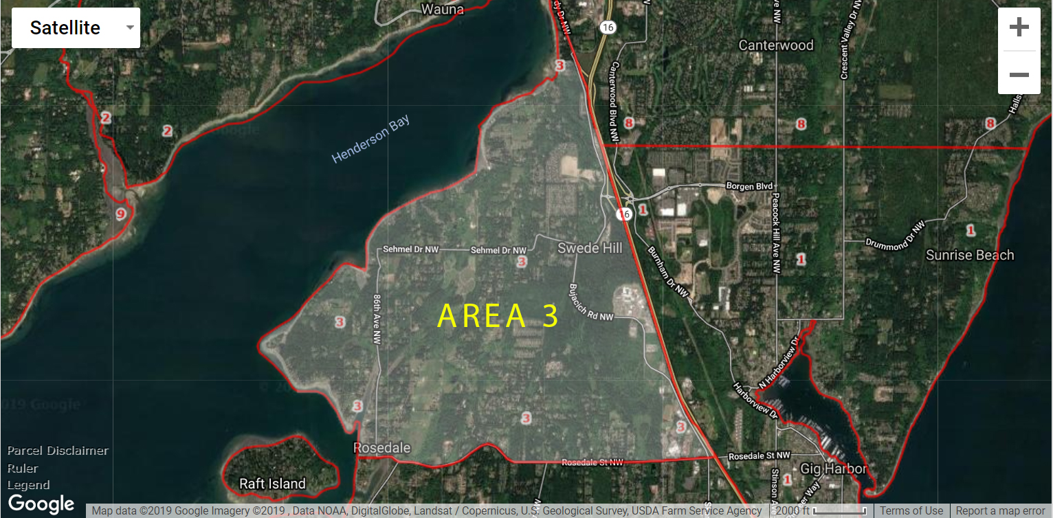 Gig Harbor WA Real Estate Area 3 Rosedale Map