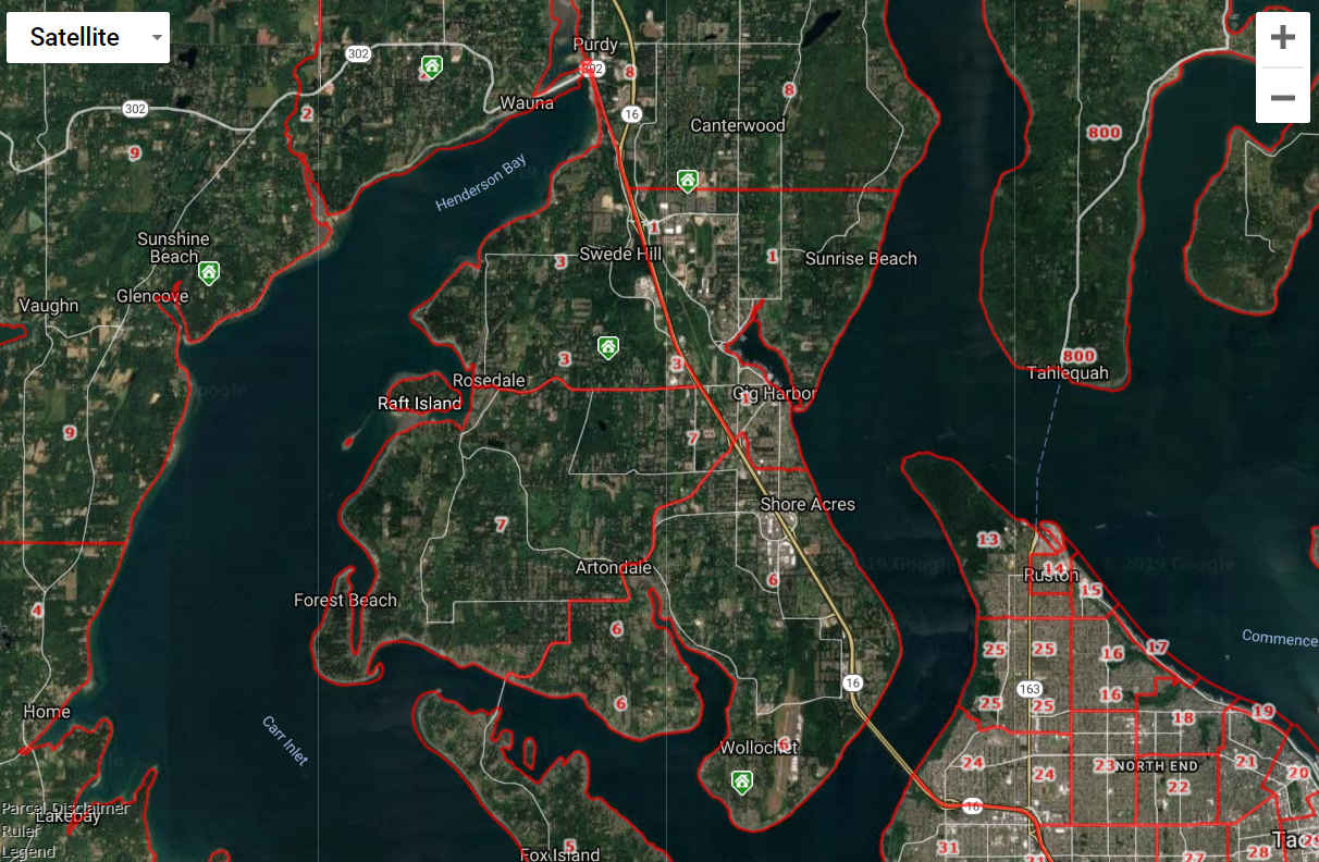 Gig Harbor WA Map of Real Estate Areas