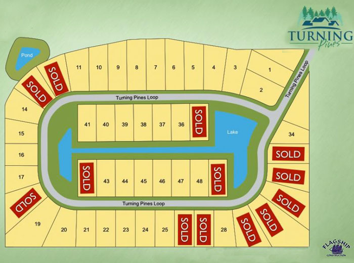 Sitemap for New Homes at Turning Pines