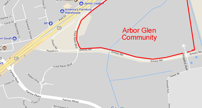 Map of Proposed Arbor Glen Community in Market Common