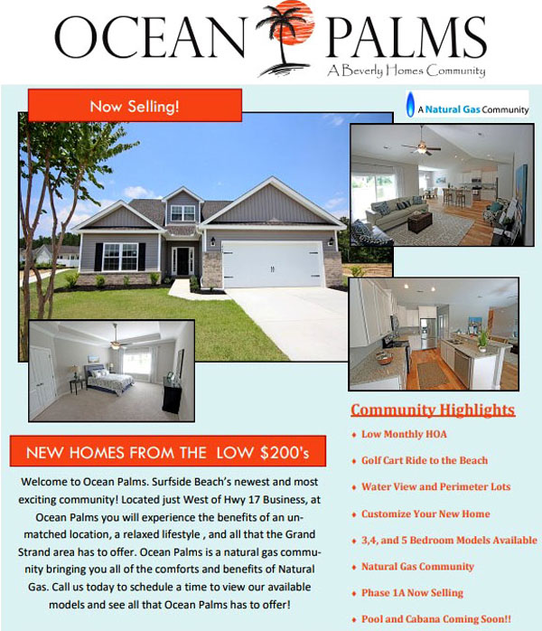 New Homes for Sale in Ocean Palms, Surfside Beach