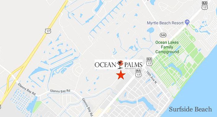 Map showing Ocean Palms in Surfside Beach
