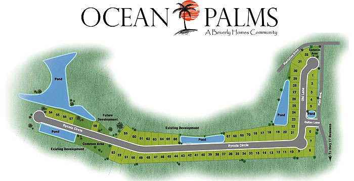 Sitemap of Ocean Palms New Homes