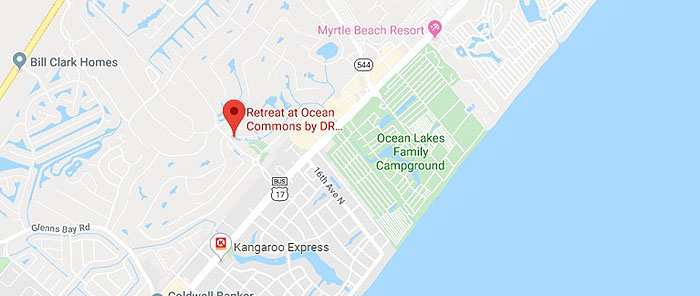 Map showing The Retreat at Ocean Commons